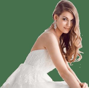 vrouw in een trouwjurk met een plak bh hieronder