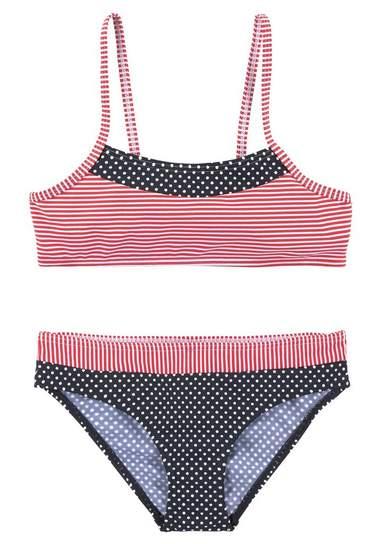meisjes bikini met streepjes en stippen