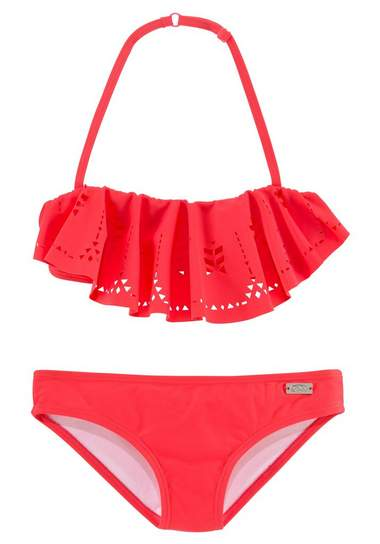 rode bikini voor meisjes met ruches