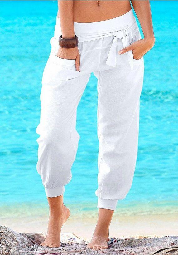linnen strandbroek wit