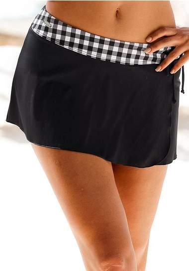 afbeelding van zwem rokbroekje voor dames in het zwart